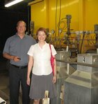 Dave Brambert and Kelly Frederick in front of the condenser