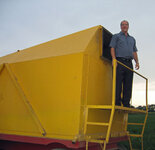 Dave Brambert stands atop one of the wagons