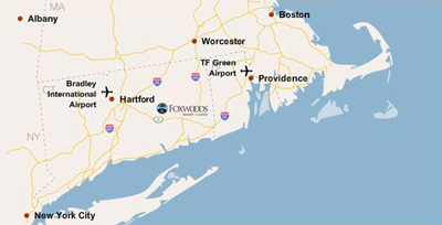 Map of Foxwoods location in Connecticut, with nearby cities highlighted