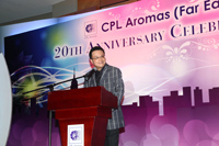 CPL Aromas Far East managing director Thomas Wan speaks at 20th anniversary event