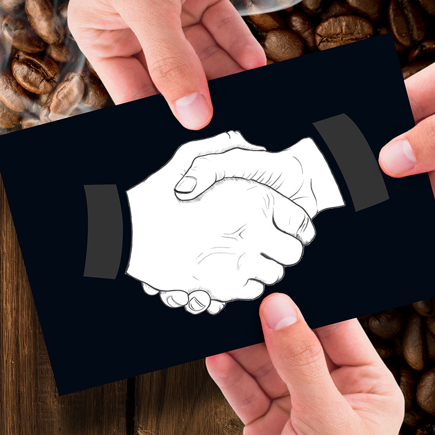 Handshake card with coffee beans and hot drink