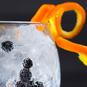 Crisp gin and tonic with orange twist