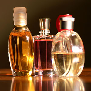 Dark lit perfume fragrance bottles