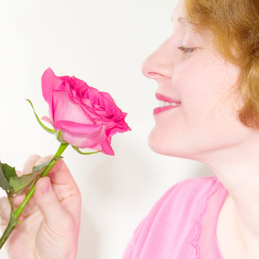Sniffing a rose 850