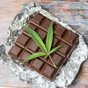 Cannabis leaf and chocolate
