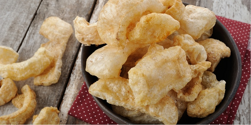Pork rind chips in a bowl
