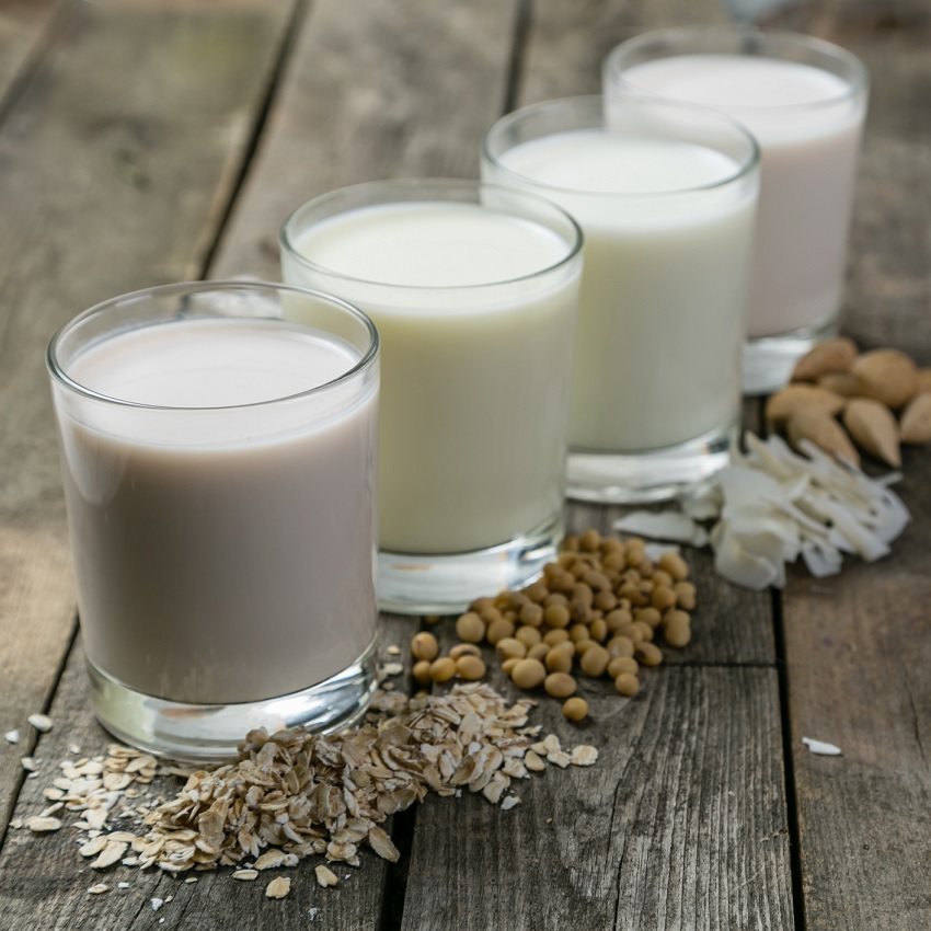 A variety of non-dairy milks