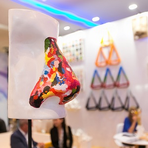 A colorful nose sculpture