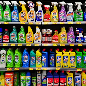 Cleaning products in a store