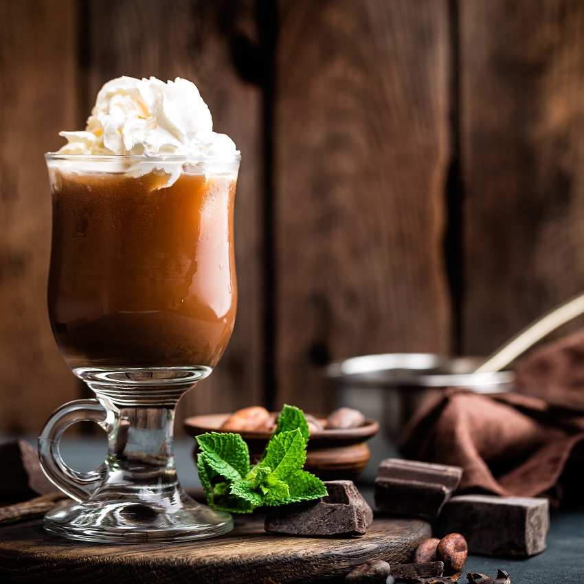 A cocoa beverage with whipped cream