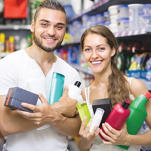 People buying cleaning products
