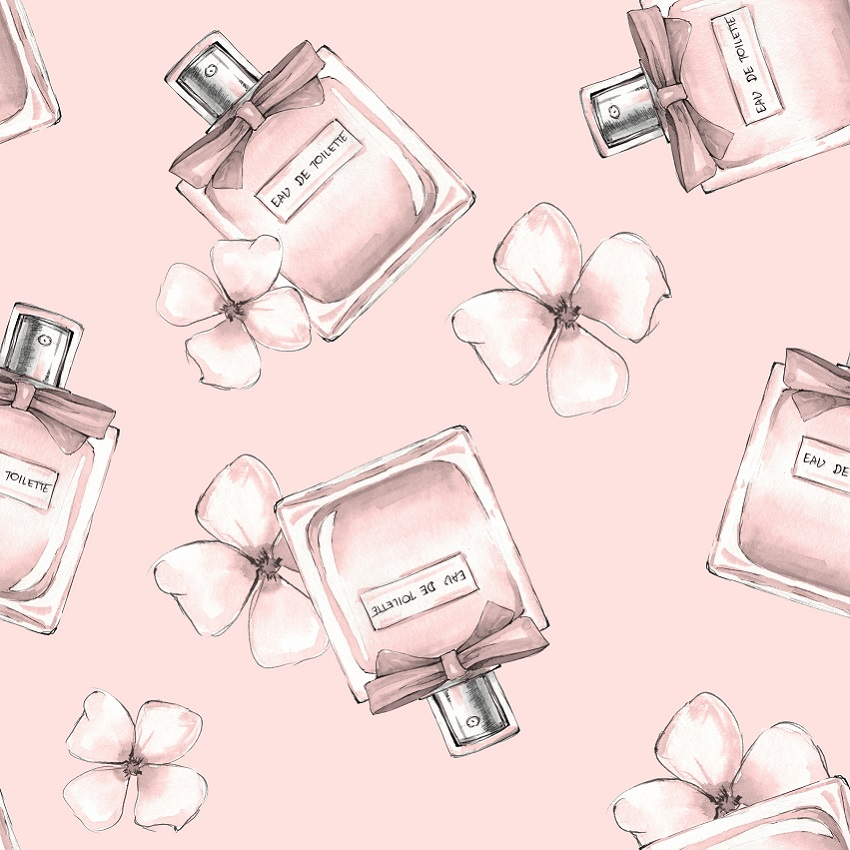 Perfume and pink background