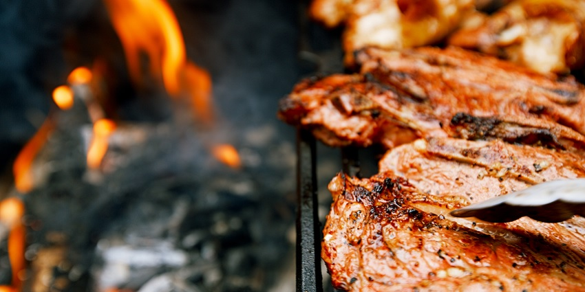 Meat on a BBQ