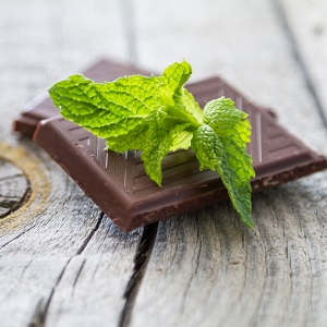 A mint leaf on chocolate