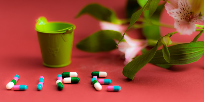 A pill and flower