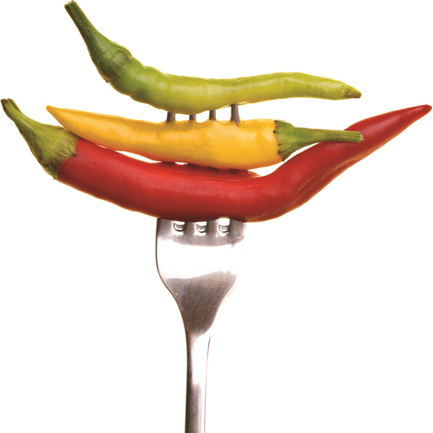 Peppers on a fork