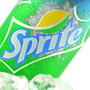 A can of sprite on ice