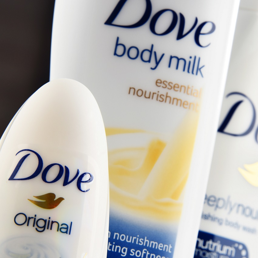 Couple bottles of Dove products